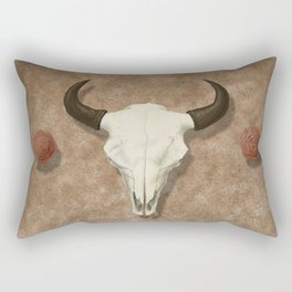 Bison Skull with Rose Rocks Rectangular Pillow