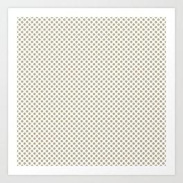 Pale Khaki Polka Dots Art Print