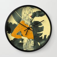 plants Wall Clocks featuring Plants by Magdalena Pankiewicz