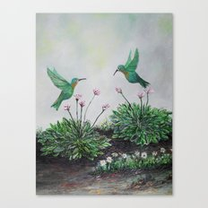 Hummingbirds and Hostas Canvas Print
