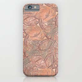 Contemporary Rust & Coral Leaves with Coral Background iPhone Case
