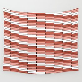 Staggered Oblong Rounded Lines Pantone Living Coral Illustration Wall Tapestry