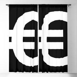Euro Sign (White & Black) Blackout Curtain