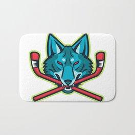 Coyote Ice Hockey Sports Mascot Bath Mat