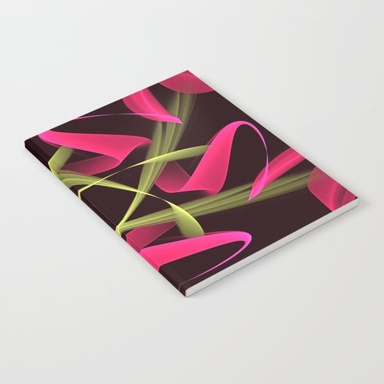 Pink ribbons in a breeze, fractal abstract pattern design Notebook