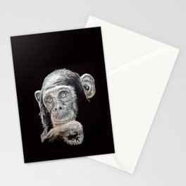 a Jane Goodall quote - black Stationery Cards