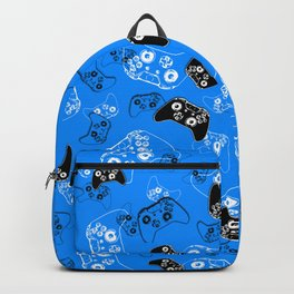 Video Game in Blue Backpack