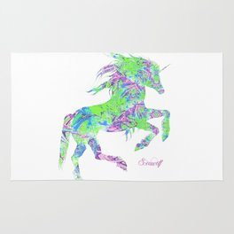 Green, purple and blue psychedelic unicorn print Rug