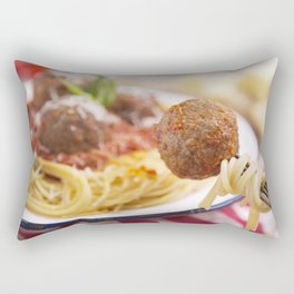 Spaghetti and meatball on a fork, plate in the background Rectangular Pillow