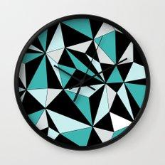 Geo - blue, gray and black. Wall Clock