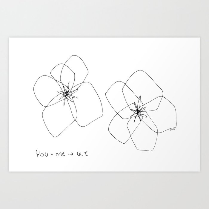 You Me We Hawaiian Hibiscus Flower Illustration Tropical