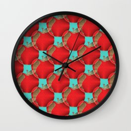 Colorful red apples on a teal background Wall Clock