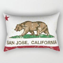 San Jose California Republic Flag Distressed  Rectangular Pillow