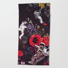 Flowers and Astronauts Beach Towel