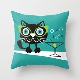1950s Swank Mid Century Modern Martini Cocktail Kitty Cat Throw Pillow