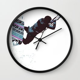 Kite And Surfboard Freestyle Silhouette Vector Wall Clock