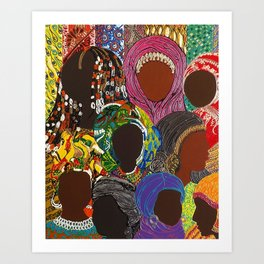 African Muslima Queens by Kelly Izdihar Crosby Art Print