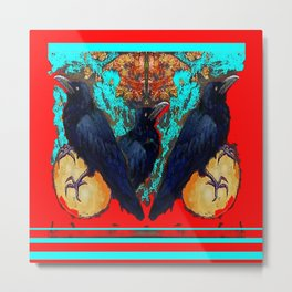 Crow-Ravens Family Red Southwest Style Abstract Metal Print
