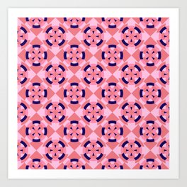 Simple geometric boat helm in blue and pink Art Print