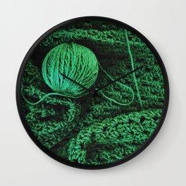 Green yarn Wall Clock