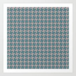 Teal Mauve Pinwheel Pattern Art Print