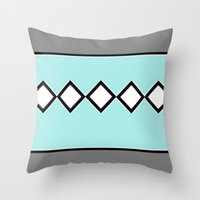charlie brown Throw Pillows featuring Charlie Blue by Bunhugger Design