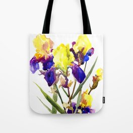 Garden Irises Floral Artwork Yellow Purple Blue Floral design Tote Bag