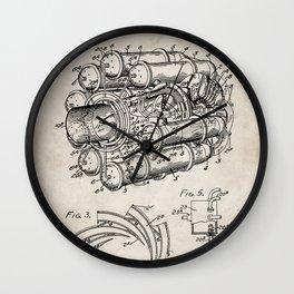 Airplane Jet Engine Patent - Airline Engine Art - Antique Wall Clock