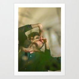 Dancers, woman and man behind plants Art Print