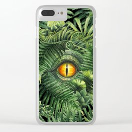 Watercolor dinosaur eye and prehistoric plants Clear iPhone Case