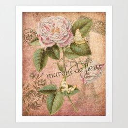 French Flower Market - Marche de Fleur - Rose and French Ephemera Print Art Print