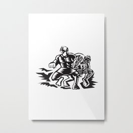Tiitii Wrestling God of Earthquake Woodcut Metal Print