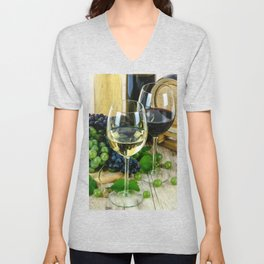 Glasses of Wine plus Grapes and Barrel Unisex V-Neck