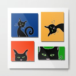 Cats in Squares Metal Print
