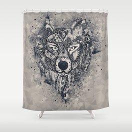 Geometric Wolf Mandala Shower Curtain