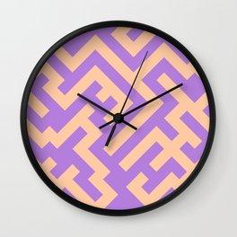 Deep Peach Orange and Lavender Violet Diagonal Labyrinth Wall Clock