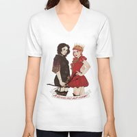 arya V-neck T-shirts featuring A Queen & her Knight by Noble Demons