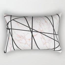 Geometrical black gold faux glitter white marble Rectangular Pillow