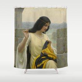 """Edmund Blair Leighton """"Stitching the Standard"""" Shower Curtain"""