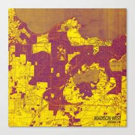 Madison West Wisconsin vintage map year 1959, rustic map, poster map Canvas Print