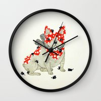 frenchie Wall Clocks featuring Frenchie. by ruffgaws