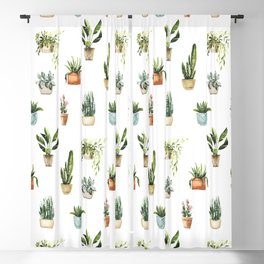 Hand painted teal green orange watercolor tropical floral cactus Blackout Curtain