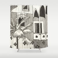 spanish Shower Curtains featuring Spanish Courtyard by Pooja Goel