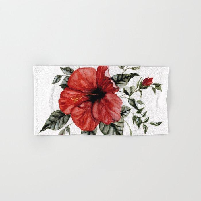 Blooming Red Hibiscus Hand & Bath Towel