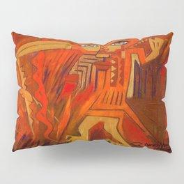 Indigenous Inca Ceremonial Shaman and Firebird portrait painting by Ortega Maila Pillow Sham