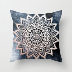 BLUE BOHO NIGHTS MANDALA Throw Pillow