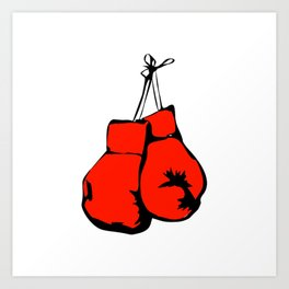 Hanging Boxing Gloves Art Print