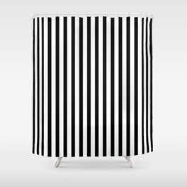 Black & White Small Vertical Stripes - Mix & Match with Simplicity of Life Shower Curtain