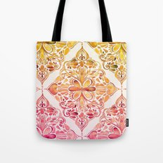 Sunset Art Nouveau Watercolor Doodle Tote Bag