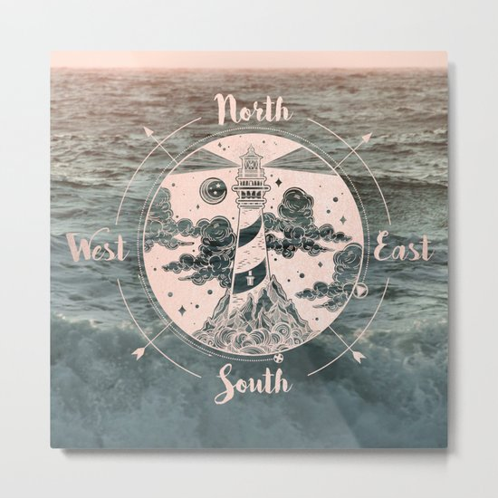Compass Sunset Sea Dreams Metal Print